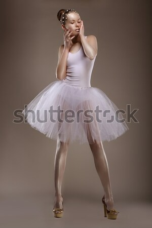 Full length of Tranquil Asian Woman in White Dress. Sensuality Stock photo © gromovataya