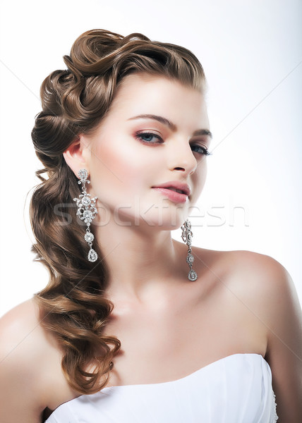 Lovely sexy female face closeup portrait. Gorgeous view Stock photo © gromovataya