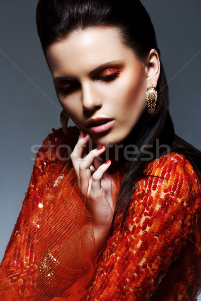Portré stílusos fényes barna hajú piros fényes Stock fotó © gromovataya