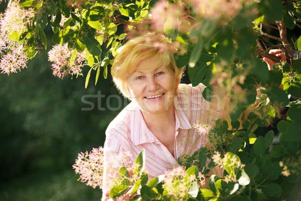 Movimentato ottimista senior donna fiori Foto d'archivio © gromovataya