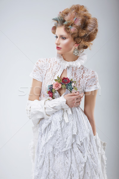 Fashion Model in Flossy White Dress and Wreath of Flowers Stock photo © gromovataya