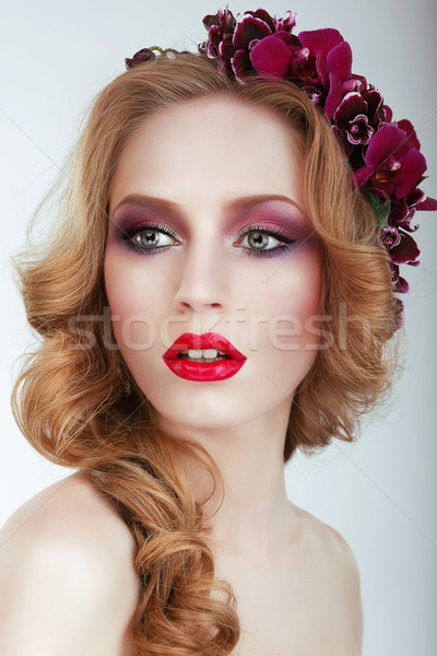 Sensual Adorable Woman with Tress and Flowers Stock photo © gromovataya