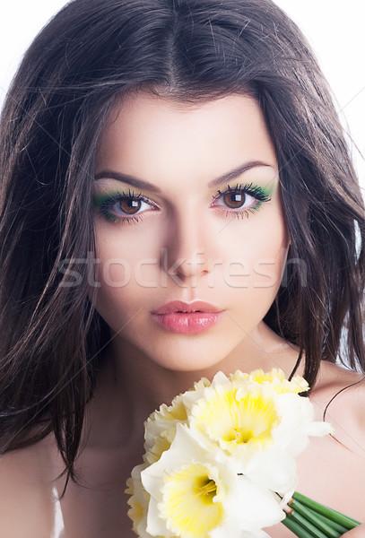 Stockfoto: Schoonheid · sensueel · vrouw · gezicht · boeket · bloemen · mooi · meisje
