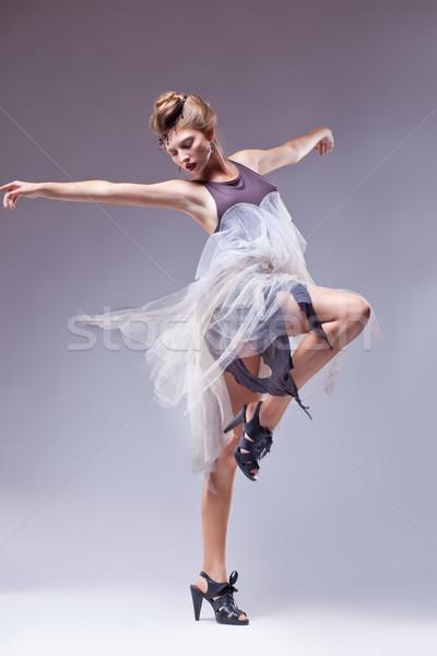 Flamenko dansçı bağbozumu Retro elbise dans Stok fotoğraf © gromovataya