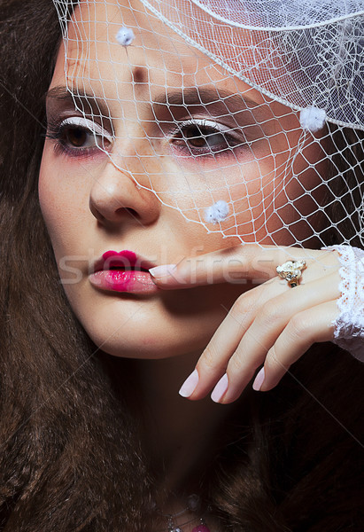 Vintage mode model retro portret vrouw Stockfoto © gromovataya