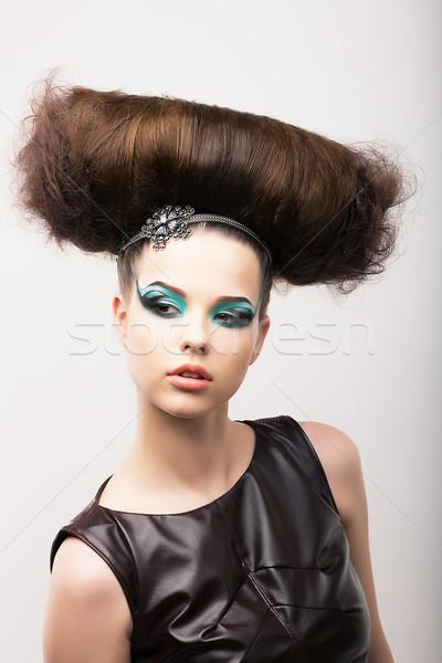 Eigenaardig meisje oneven creatieve fantastisch Stockfoto © gromovataya