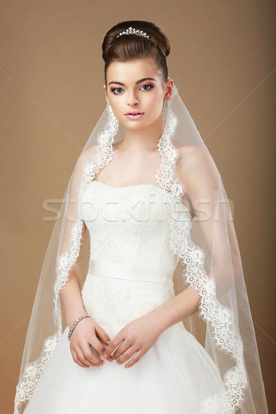 Esküvő portré hölgy fehér fátyol arc Stock fotó © gromovataya