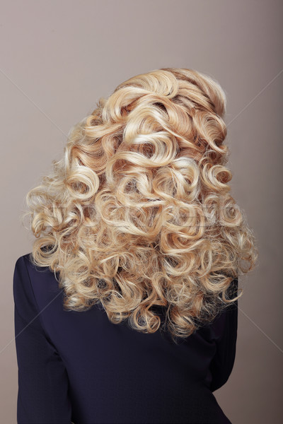 Rear View of Woman with Frizzy Ashen  Hairs. Festive Braided Hairdo Stock photo © gromovataya