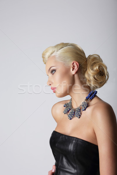 Profile of Young Contemplating Blonde with Necklace Stock photo © gromovataya