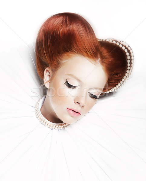 Luxurious redhair duchess - freckled girl with pearl necklace Stock photo © gromovataya