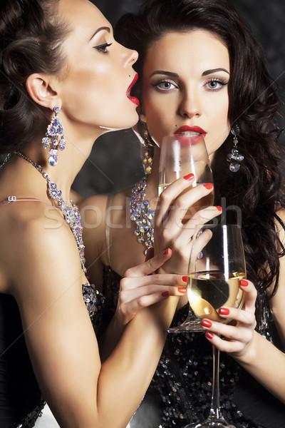 Nők boldog új évet borospoharak pezsgő karácsony bankett Stock fotó © gromovataya