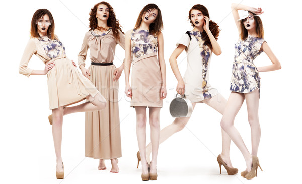 Collage of Trendy Women in Light Seasonal Clothing. Glamour Stock photo © gromovataya