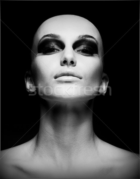 Extreme. Portrait of Eccentric Hairless Woman. Shaved Skull. Futurism Stock photo © gromovataya