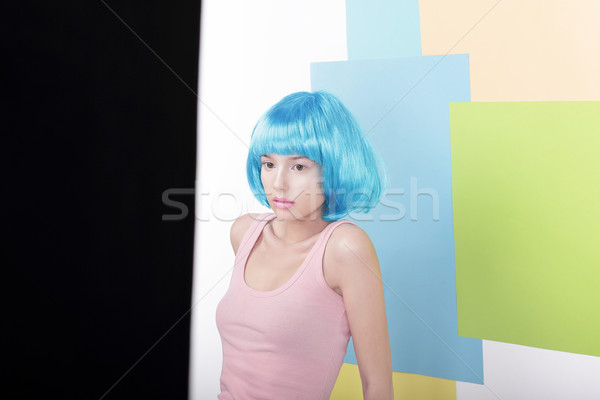 Portrait of Pensive Beautiful Girl in Fancy Blue Wig and Pink Singlet Stock photo © gromovataya