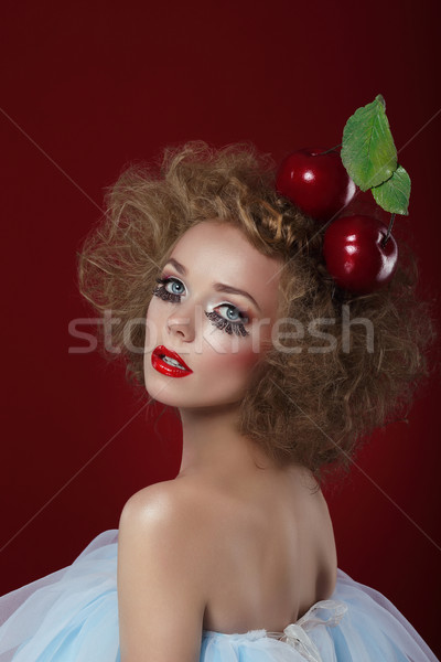 Fancy Dress Party. Funny Harlequin with Apples Stock photo © gromovataya