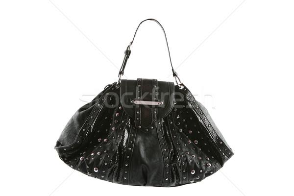 Siyah çanta yalıtılmış beyaz kadın arka plan Stok fotoğraf © gsermek