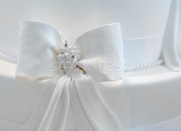 Wedding cake decorated with pearls Stock photo © gsermek