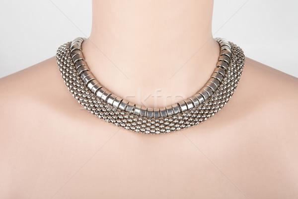 Beautiful silver statement necklace on a mannequin Stock photo © gsermek