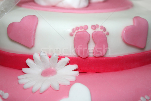 Zdjęcia stock: Różowy · baby · ciasto · dekoracji · szczegóły · kwiat