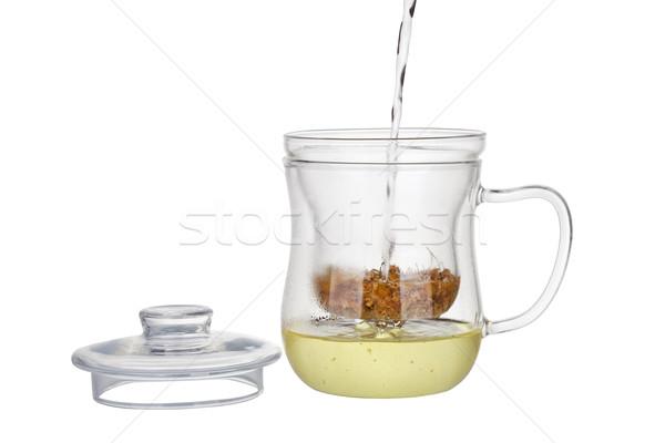 Voorbereiding kamille thee drogen bloemen geïsoleerd Stockfoto © gsermek