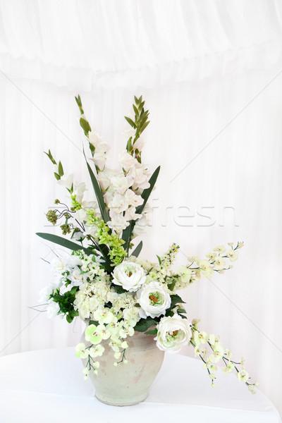 White flower bouquet in a vase Stock photo © gsermek