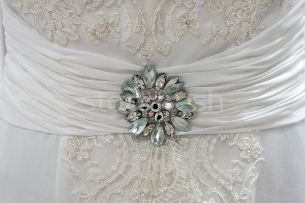 Wedding dress detail with rhinestones Stock photo © gsermek