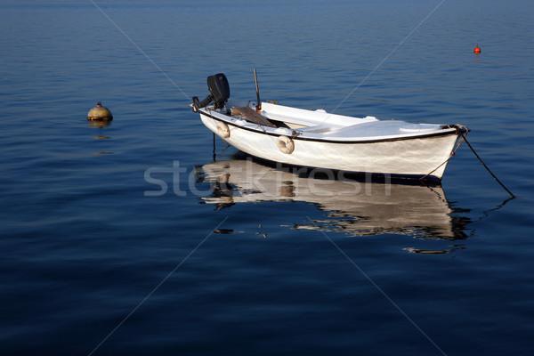 Elegant white boat on blue water Stock photo © gsermek