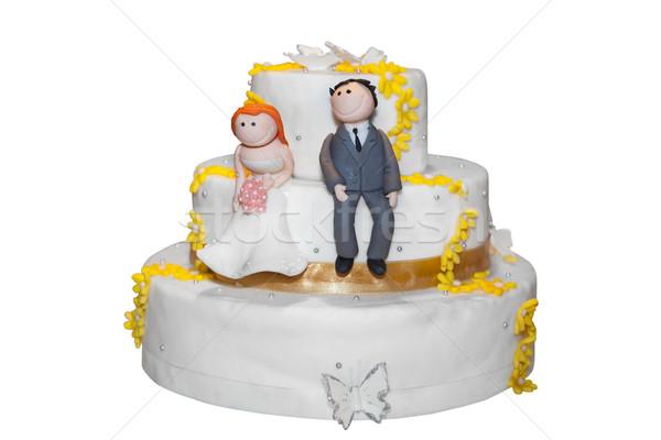 Noiva noivo topo bolo de noiva comida borboleta Foto stock © gsermek