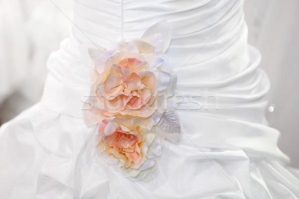 Stok fotoğraf: Gelinlik · detay · düğün · model · arka · plan · güzellik