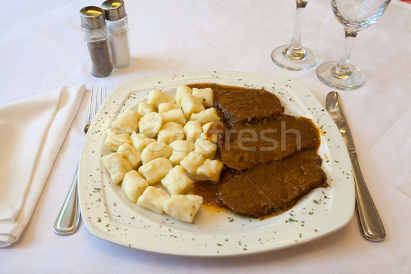 Croatian traditional cuisine, Pasticada With Gnocchi Stock photo © gsermek