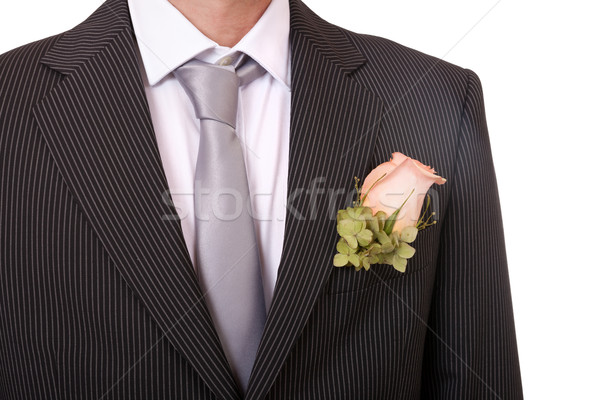 Detail of a groom's necktie and boutonniere Stock photo © gsermek