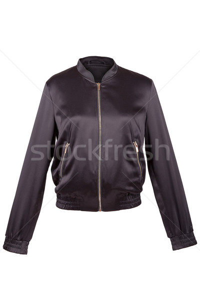 Schwarz Satin Jacke isoliert weiß Mode Stock foto © gsermek