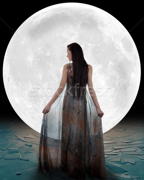 Ice fairy walking into the moon Stock photo © gsermek