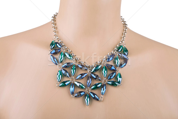 Argent collier mannequin bleu vert strass Photo stock © gsermek