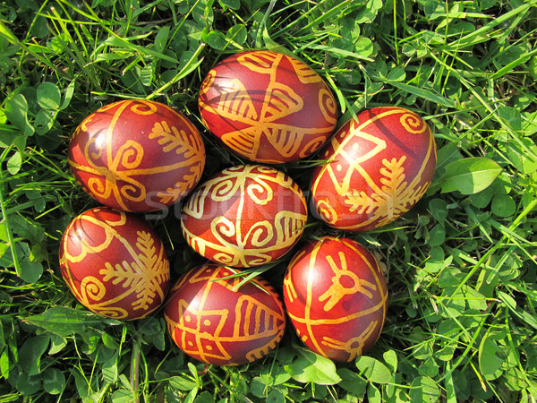 Croatian traditional easter eggs on green grass Stock photo © gsermek