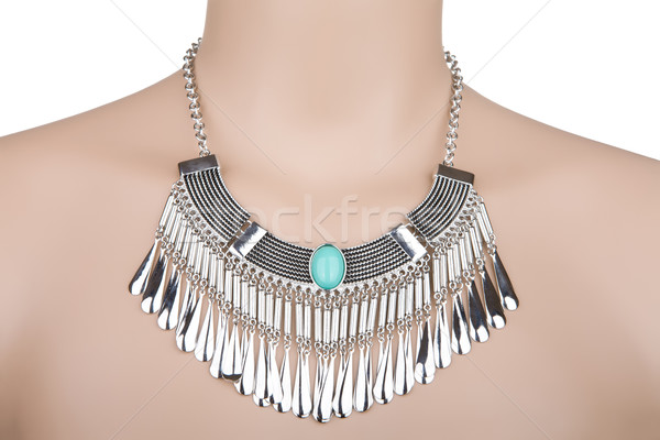 Silver statement necklace on a mannequin Stock photo © gsermek