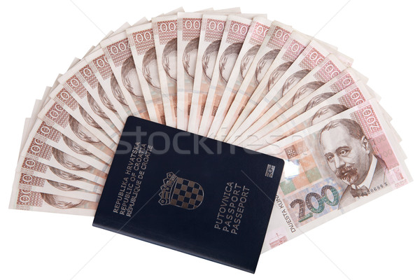 Croatian passport with Croatian money Stock photo © gsermek