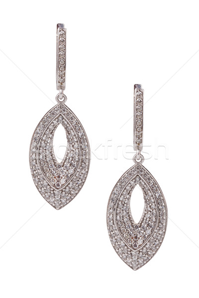 Par diamantes pendientes aislado blanco Foto stock © gsermek