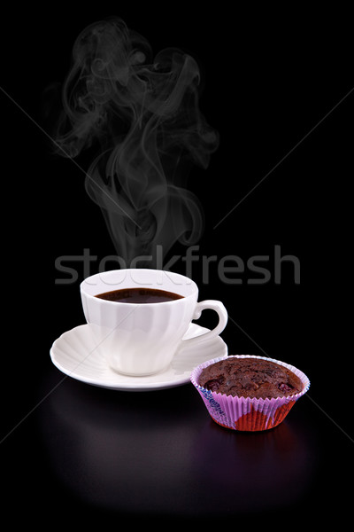 Caliente taza café chocolate cereza muffin Foto stock © gsermek