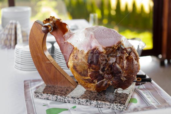 Cocido jamón hueso fondo restaurante grasa Foto stock © gsermek