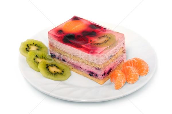 Pastel de frutas servido frutas placa aislado blanco Foto stock © gsermek