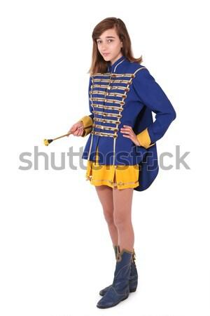 Teenage majorette in uniform holding a baton Stock photo © gsermek