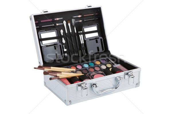 Aluminum make up case with makeup brushes, isolated on white ba Stock photo © gsermek