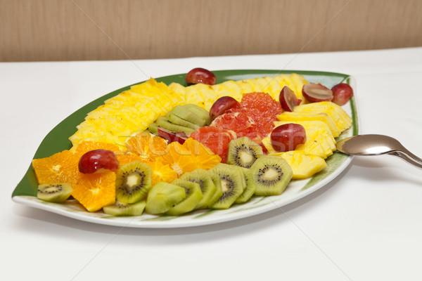 Variety of sliced fruit served on a platter Stock photo © gsermek