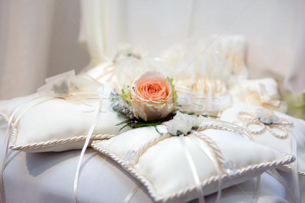 Esküvő párnák virágok szalagok rózsa házasság Stock fotó © gsermek