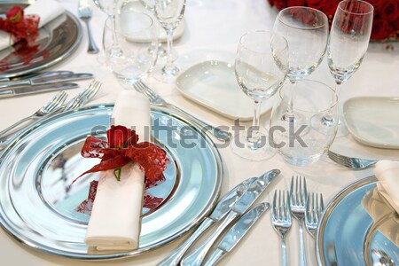 Stock photo: Table setting with a plate and a napkin