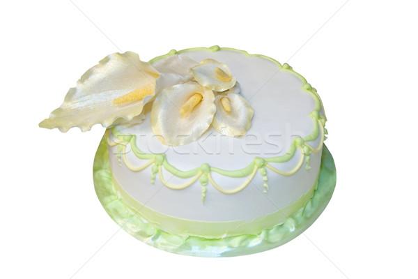 Esküvői torta díszített marcipán izolált fehér étel Stock fotó © gsermek