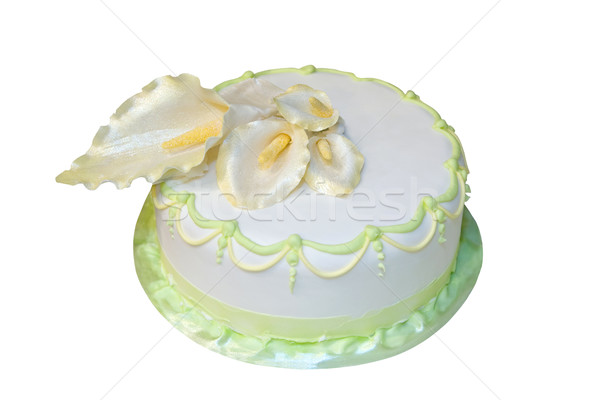 Wedding cake decorated with marzipan cala lillies  Stock photo © gsermek