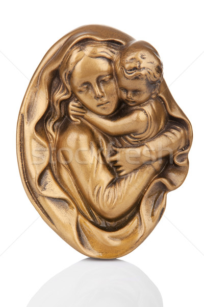 Virgin Mary holding baby Jesus wall statue with reflection Stock photo © gsermek