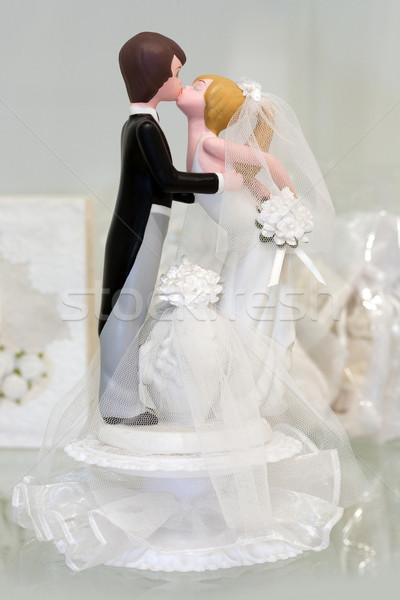 Bruid bruidegom zoenen achtergrond succes huwelijk Stockfoto © gsermek
